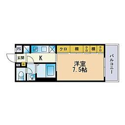 リブリ・FuJi 吉塚 3階1Kの間取り