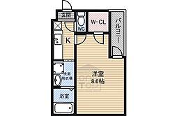 フジパレス鶴見5番館 3階1Kの間取り