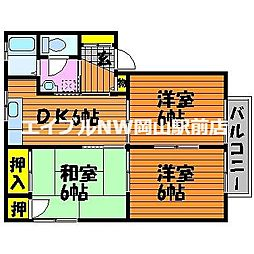 岡山県岡山市中区四御神丁目なしの賃貸アパートの間取り