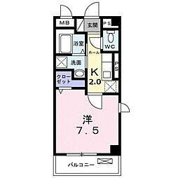 東急田園都市線 長津田駅 徒歩10分の賃貸マンション 4階1Kの間取り