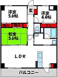 JR筑豊本線 中間駅 徒歩10分の賃貸マンション 5階3LDKの間取り