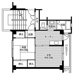 ビレッジハウス米倉1号棟 5階2Kの間取り