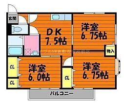マンションルーブラン B棟[2階]の間取り