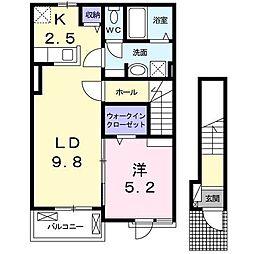 埼玉県狭山市大字水野の賃貸アパートの間取り