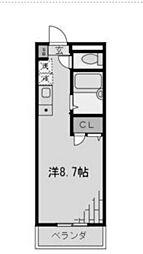 第6宮田ビル 4階ワンルームの間取り