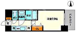 プレサンス堺筋本町センティス 11階1Kの間取り