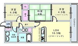 北大阪急行電鉄 桃山台駅 徒歩10分の賃貸マンション 3階3LDKの間取り