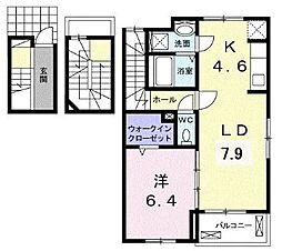 JR福塩線 備後本庄駅 徒歩26分の賃貸アパート 3階1LDKの間取り