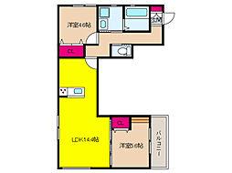 阪急神戸本線 六甲駅 徒歩7分の賃貸アパート 3階2LDKの間取り