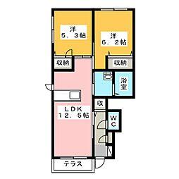グランカーサ金岡 弐番館[1階]の間取り