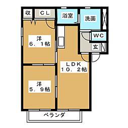VILLAGE秋葉[1階]の間取り
