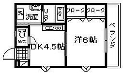 カーサ福田[201号室]の間取り