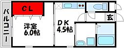 JR鹿児島本線 教育大前駅 徒歩20分の賃貸アパート 2階1DKの間取り