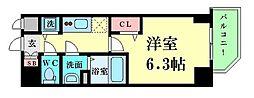 プレサンス江戸堀 2階1Kの間取り