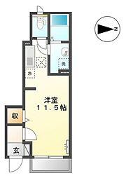 バス 川東町入口下車 徒歩3分の賃貸アパート 1階ワンルームの間取り