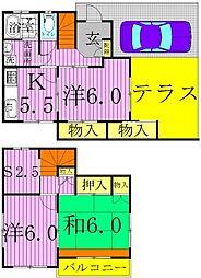 [一戸建] 千葉県柏市東中新宿1丁目 の賃貸【/】の間取り
