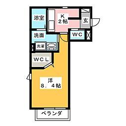 ラ・コリーナest 2階1Kの間取り