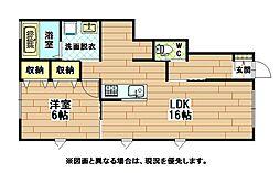 福岡県北九州市八幡西区松寿山1丁目の賃貸アパートの間取り