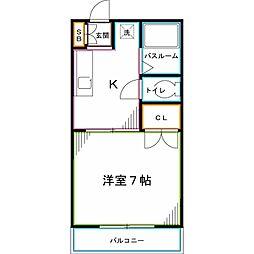 西武国分寺線 恋ヶ窪駅 徒歩1分の賃貸アパート 2階1Kの間取り