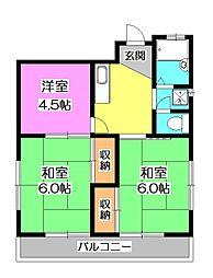 東京都東村山市久米川町1丁目の賃貸アパートの間取り