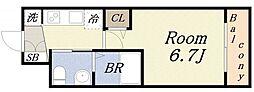 エグゼ大阪ドーム 9階1Kの間取り