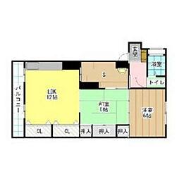 福岡県北九州市小倉北区赤坂2丁目の賃貸マンションの間取り