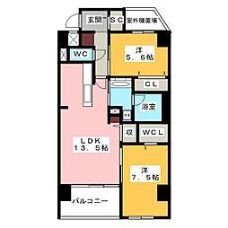 愛知県名古屋市千種区萱場2丁目の賃貸マンションの間取り