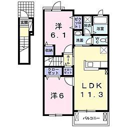 近鉄橿原線 九条駅 徒歩11分の賃貸アパート 2階2LDKの間取り