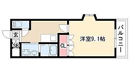愛知県日進市本郷町御器街道の賃貸アパートの間取り