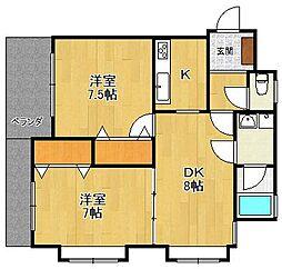 ラフィーネ夙川[1階]の間取り