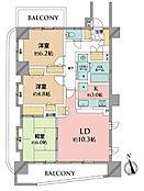 3LDK 出窓が豊富な三方角部屋のお部屋