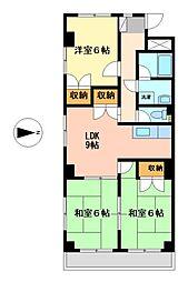 愛知県名古屋市中村区長筬町3丁目の賃貸マンションの間取り