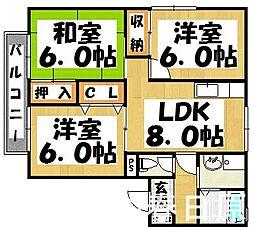 福岡県大野城市若草4丁目の賃貸アパートの間取り