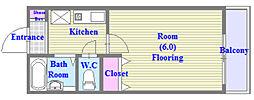 兵庫県神戸市垂水区高丸4丁目の賃貸アパートの間取り