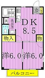 グリーンハウスA・B(関場町)[2階]の間取り