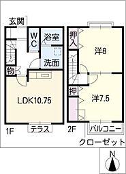 [タウンハウス] 愛知県名古屋市中川区下之一色町字松蔭2丁目 の賃貸【/】の間取り