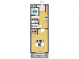 セントラルパークサイドマンション 1階1Kの間取り