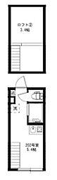 JR山手線 高田馬場駅 徒歩8分の賃貸アパート 2階ワンルームの間取り
