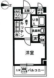 JR京浜東北・根岸線 山手駅 徒歩10分の賃貸マンション 4階1Kの間取り