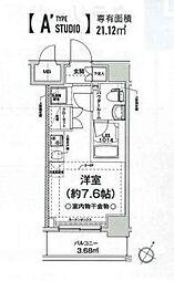 相鉄本線 西横浜駅 徒歩12分の賃貸マンション 4階ワンルームの間取り
