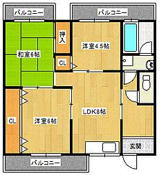 東田マンション[402号室]の間取り