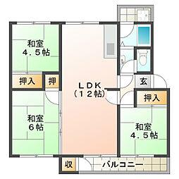 狩口台住宅34号棟[5階]の間取り