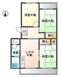 愛知県清須市上条1丁目の賃貸マンションの間取り