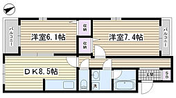 ファミール本田[301号室]の間取り