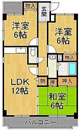 シャトー富松[4階]の間取り