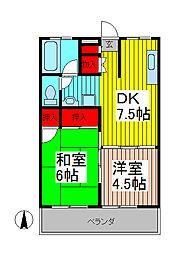 西青木第一マンション[4階]の間取り