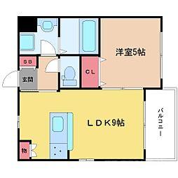 大阪府豊中市千成町2丁目の賃貸アパートの間取り