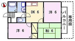 ルミエール飾磨II[2階]の間取り