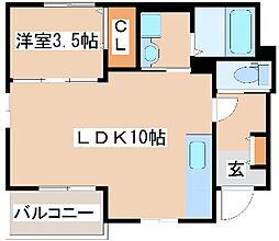 山陽電鉄本線 大蔵谷駅 徒歩5分の賃貸アパート 1階1LDKの間取り