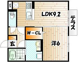 エスポワール祇園A棟[2階]の間取り